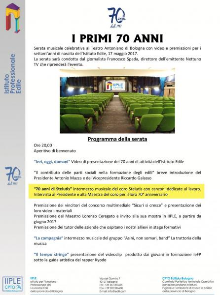 I PRIMI 70 ANNI per L'Istituto Edile