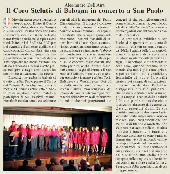 Il Coro Stelutis di Bologna in concerto a San Paolo
