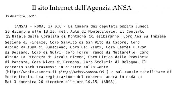 Concerto di Natale nell'Aula di Montecitorio